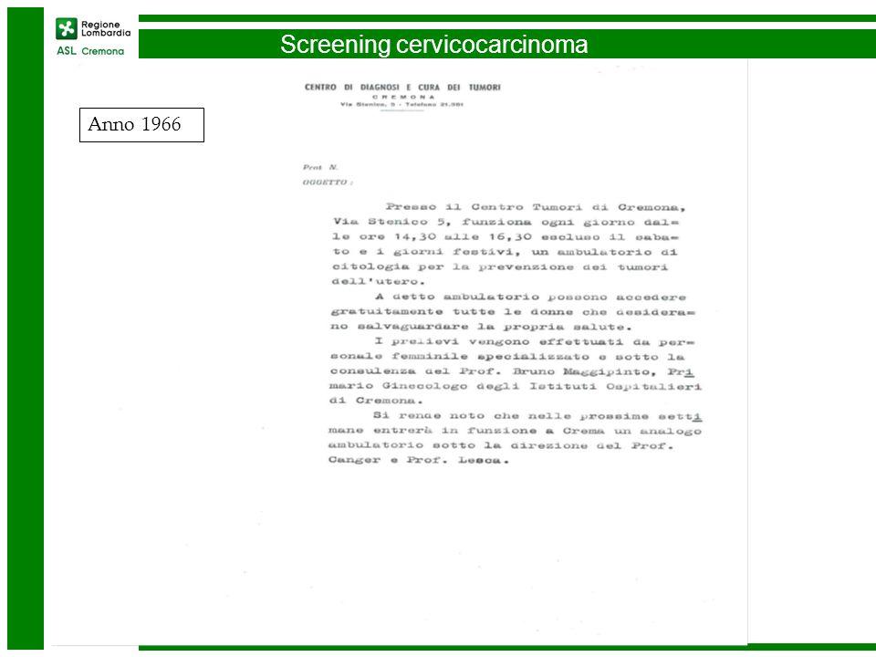 Screening cervicocarcinoma Anno 1966