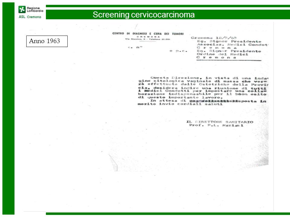 Screening cervicocarcinoma Anno 1963
