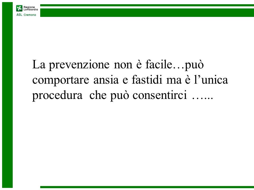 La prevenzione non è facile…può comportare ansia e fastidi ma è lunica procedura che può consentirci …...
