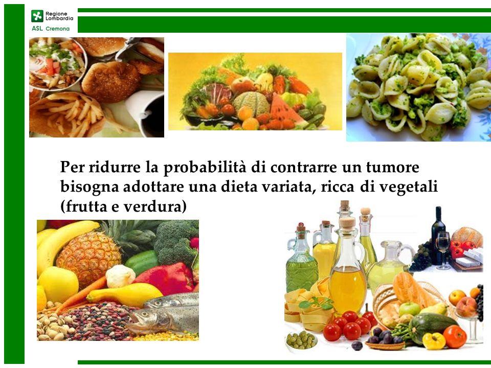 Per ridurre la probabilità di contrarre un tumore bisogna adottare una dieta variata, ricca di vegetali (frutta e verdura)