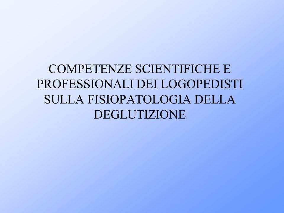 COMPETENZE SCIENTIFICHE E PROFESSIONALI DEI LOGOPEDISTI SULLA FISIOPATOLOGIA DELLA DEGLUTIZIONE
