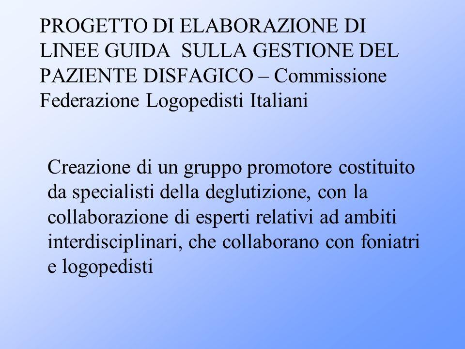 PROGETTO DI ELABORAZIONE DI LINEE GUIDA SULLA GESTIONE DEL PAZIENTE DISFAGICO – Commissione Federazione Logopedisti Italiani Creazione di un gruppo pr