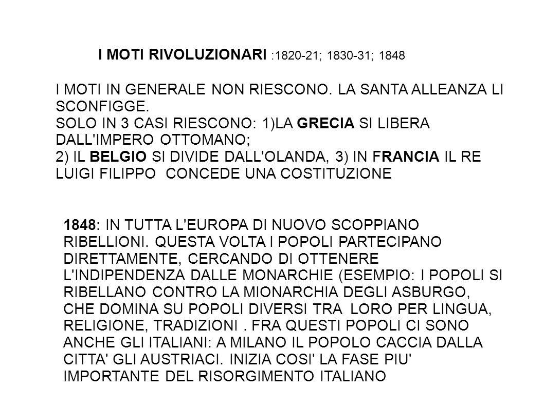 IL RISORGIMENTO ITALIANO: TAPPE 1848: 1° GUERRA D INDIPENDENZA CONTRO L AUSTRIA 1859: 2° GUERRA D INDIPENDENZA CONTRO L AUSTRIA 1860: SPEDIZIONE DEI MILLE CHE LIBERA IL SUD D ITALIA 1861: NASCE IL REGNO D ITALIA.
