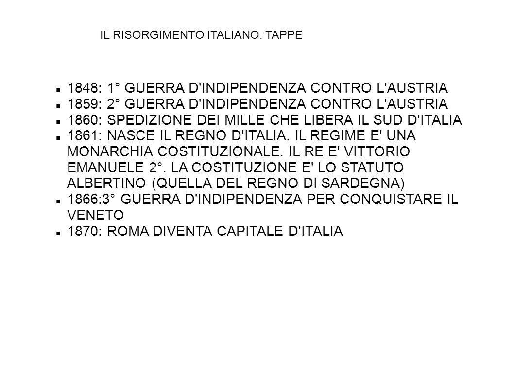 IL RISORGIMENTO ITALIANO: TAPPE 1848: 1° GUERRA D'INDIPENDENZA CONTRO L'AUSTRIA 1859: 2° GUERRA D'INDIPENDENZA CONTRO L'AUSTRIA 1860: SPEDIZIONE DEI M