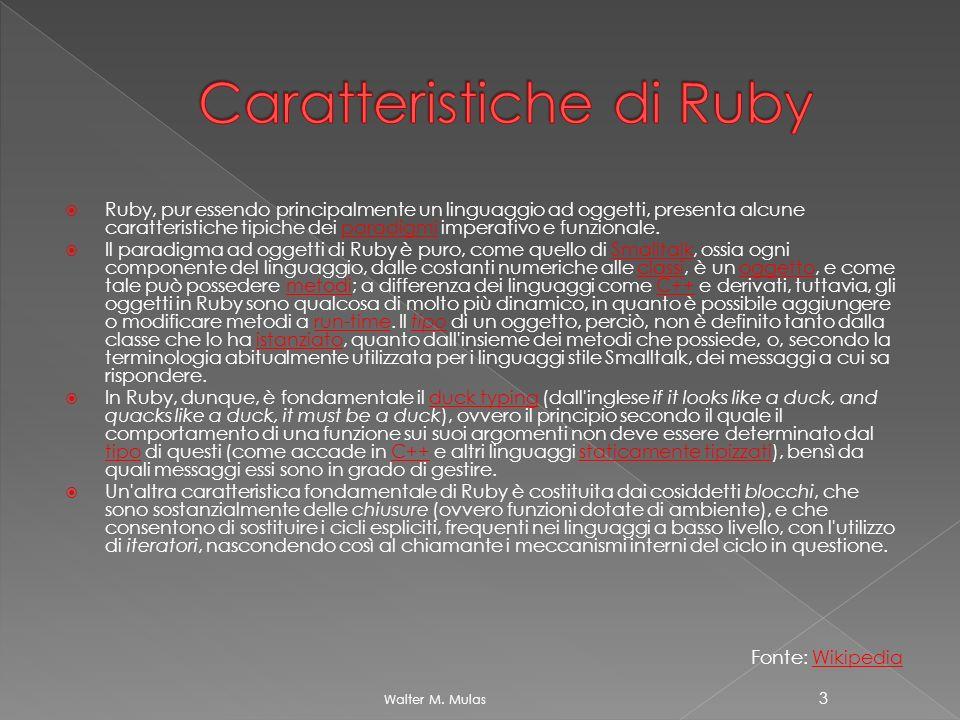 Ruby, pur essendo principalmente un linguaggio ad oggetti, presenta alcune caratteristiche tipiche dei paradigmi imperativo e funzionale.paradigmi Il paradigma ad oggetti di Ruby è puro, come quello di Smalltalk, ossia ogni componente del linguaggio, dalle costanti numeriche alle classi, è un oggetto, e come tale può possedere metodi; a differenza dei linguaggi come C++ e derivati, tuttavia, gli oggetti in Ruby sono qualcosa di molto più dinamico, in quanto è possibile aggiungere o modificare metodi a run-time.