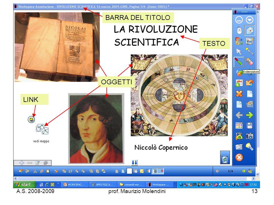 A.S. 2008-2009prof. Maurizio Molendini13 BARRA DEL TITOLO LINK OGGETTI TESTO