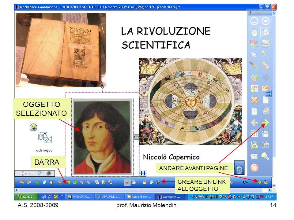 A.S. 2008-2009prof. Maurizio Molendini14 OGGETTO SELEZIONATO BARRA ANDARE AVANTI PAGINE CREARE UN LINK ALLOGGETTO