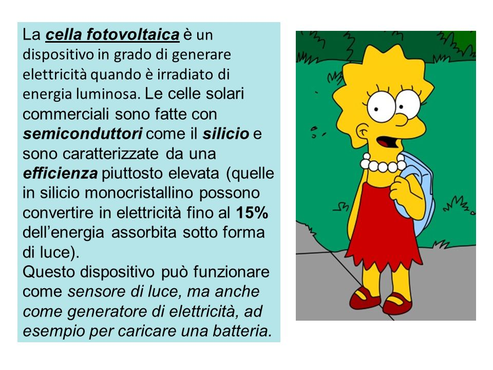 La Simpsons production presenta : La cella fotovoltaica a base di Cu 2 O