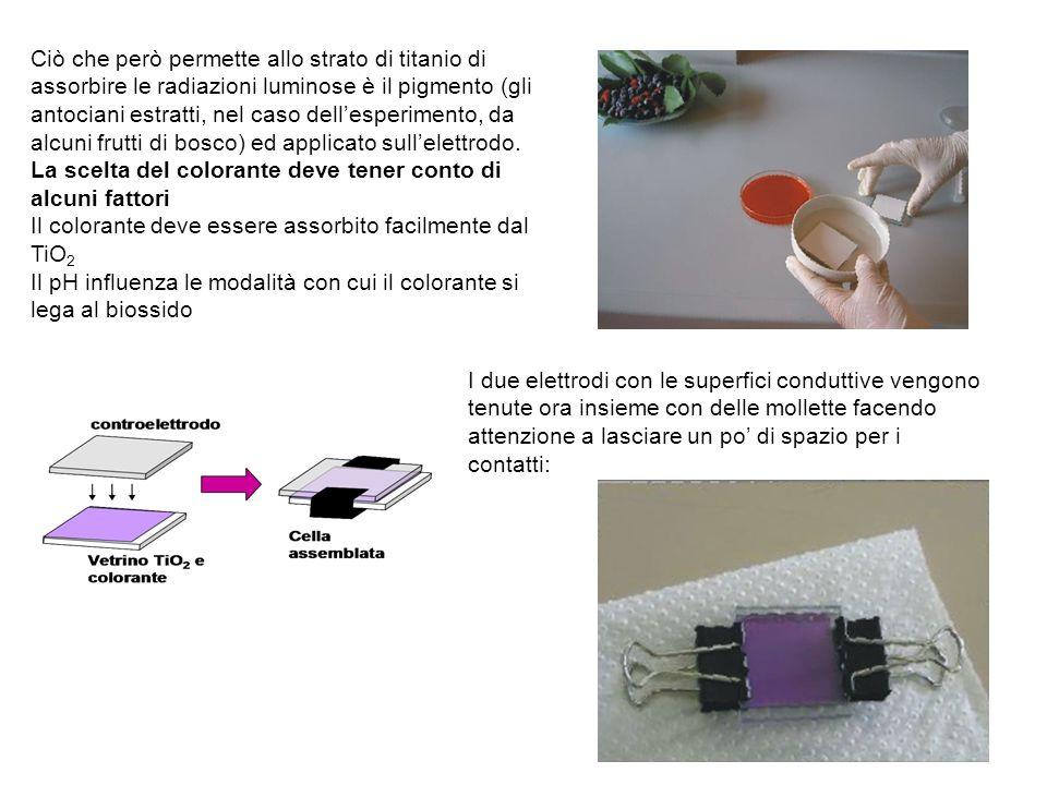 La polvere di ossido di titanio mescolata con acido nitrico forma lo strato di semiconduttore che va applicato su un vetrino per formare il primo elet