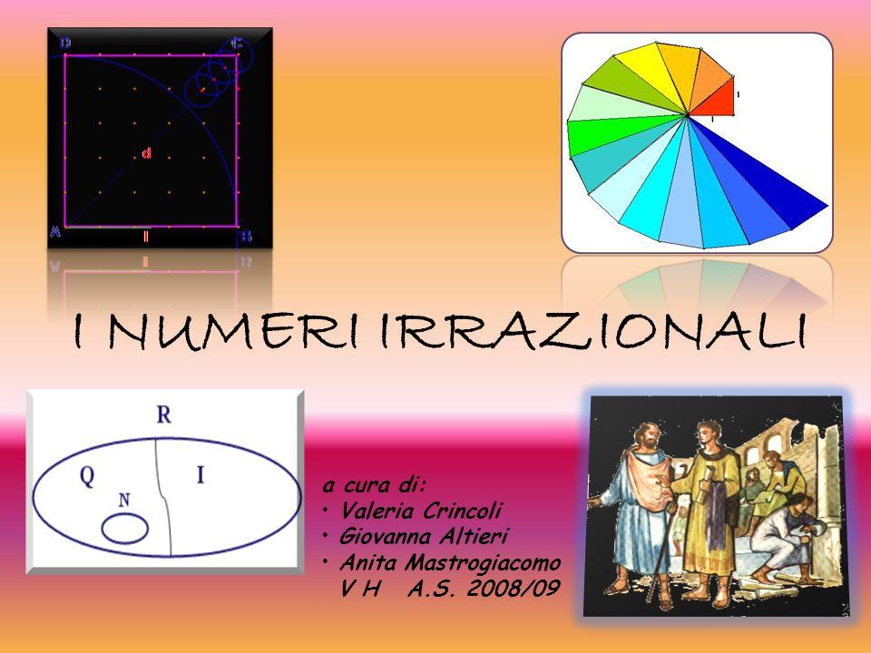 I NUMERI IRRAZIONALI a cura di: Valeria Crincoli Giovanna Altieri Anita Mastrogiacomo V H A.S. 2008/09