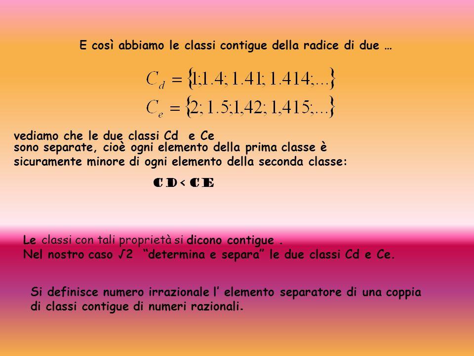 E così abbiamo le classi contigue della radice di due … vediamo che le due classi Cd e Ce sono separate, cioè ogni elemento della prima classe è sicur