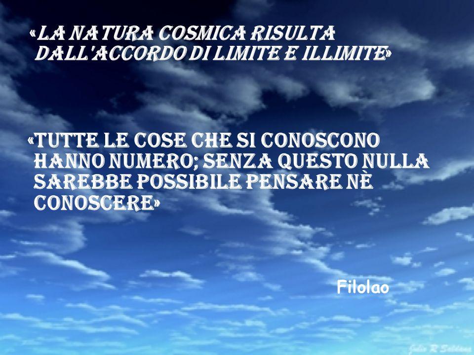 «La natura cosmica risulta dall'accordo di Limite e Illimite» «Tutte le cose che si conoscono hanno numero; senza questo nulla sarebbe possibile pensa