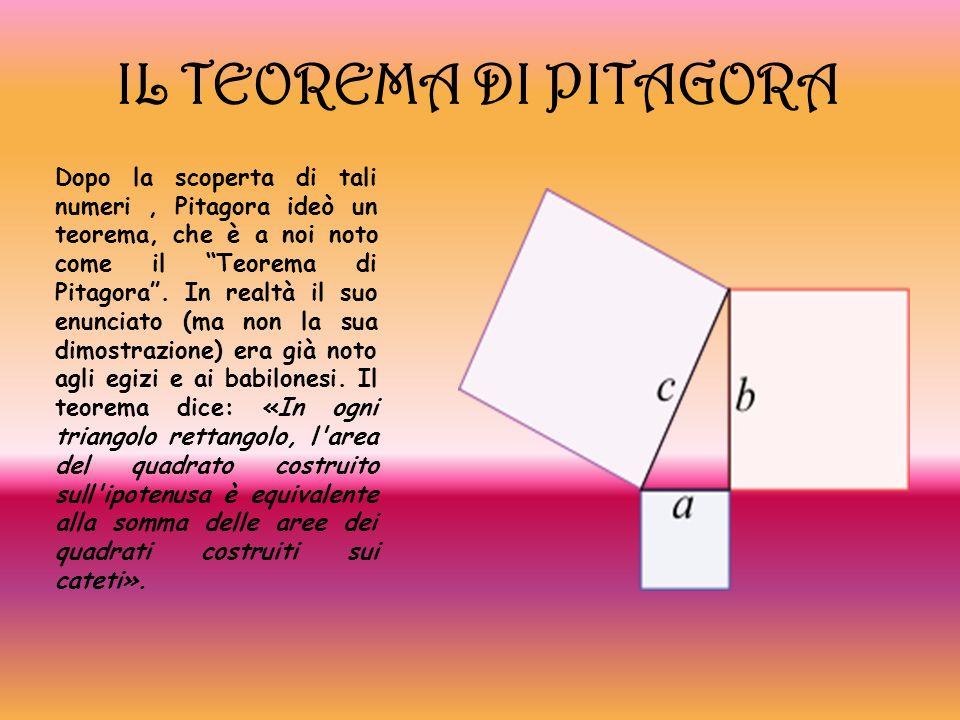 IL TEOREMA DI PITAGORA Dopo la scoperta di tali numeri, Pitagora ideò un teorema, che è a noi noto come il Teorema di Pitagora. In realtà il suo enunc
