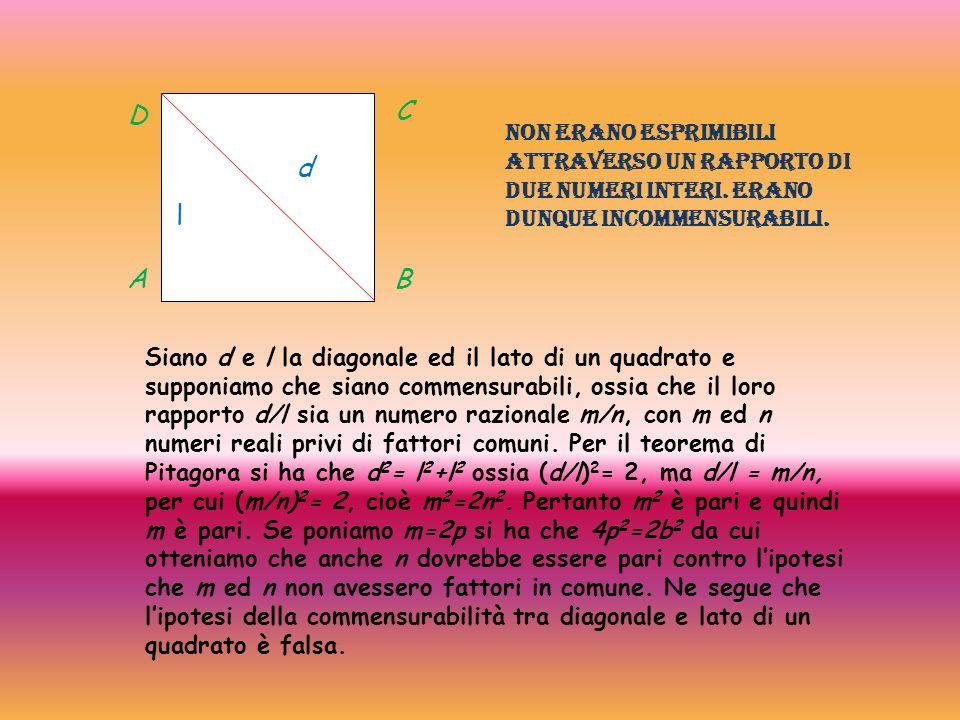 l d A D C B Siano d e l la diagonale ed il lato di un quadrato e supponiamo che siano commensurabili, ossia che il loro rapporto d/l sia un numero raz