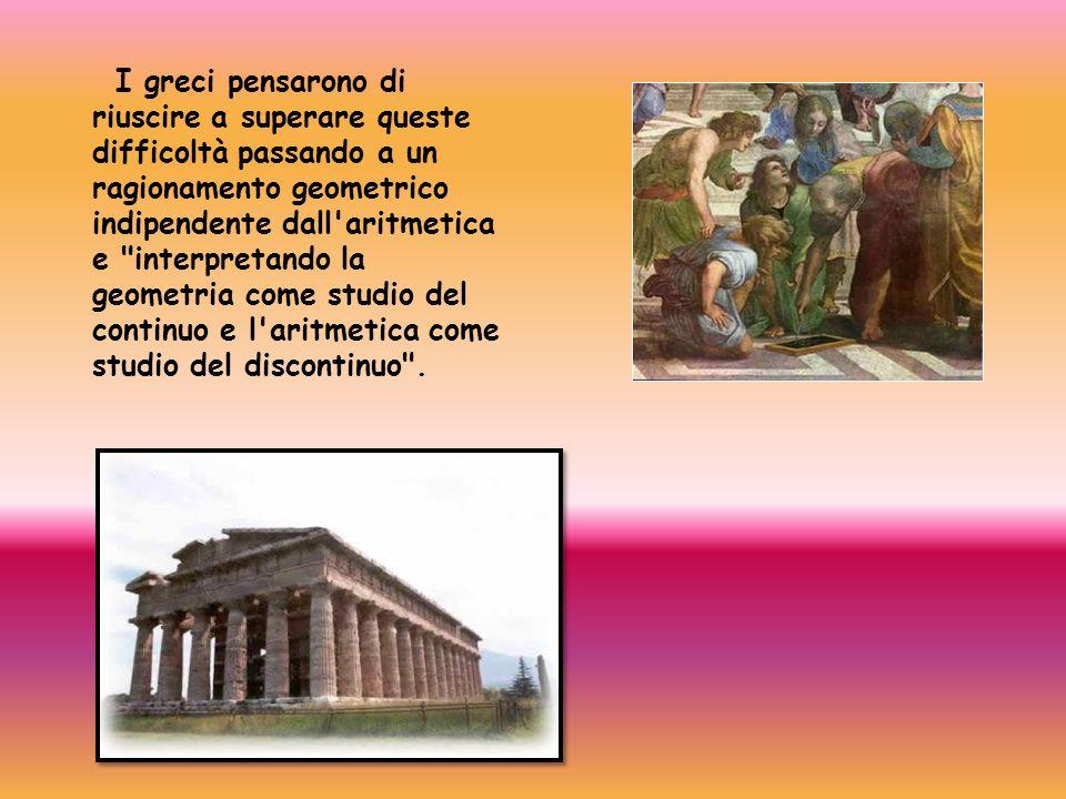 I greci pensarono di riuscire a superare queste difficoltà passando a un ragionamento geometrico indipendente dall'aritmetica e