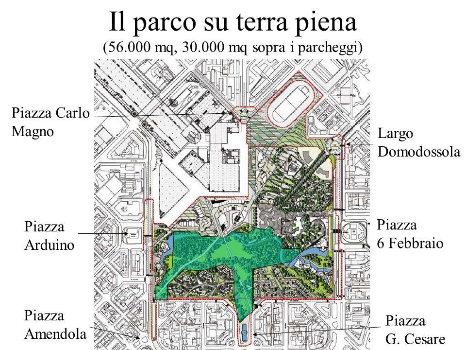 Il parco su terra piena (56.000 mq, 30.000 mq sopra i parcheggi) Piazza 6 Febbraio Largo Domodossola Piazza Arduino Piazza G. Cesare Piazza Amendola P