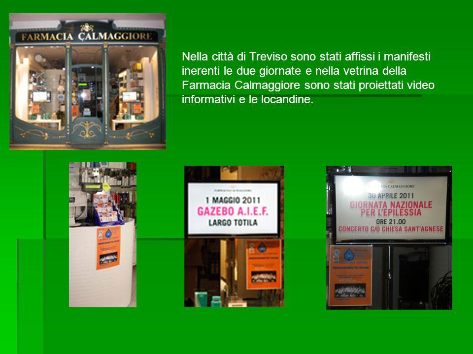 Nella città di Treviso sono stati affissi i manifesti inerenti le due giornate e nella vetrina della Farmacia Calmaggiore sono stati proiettati video