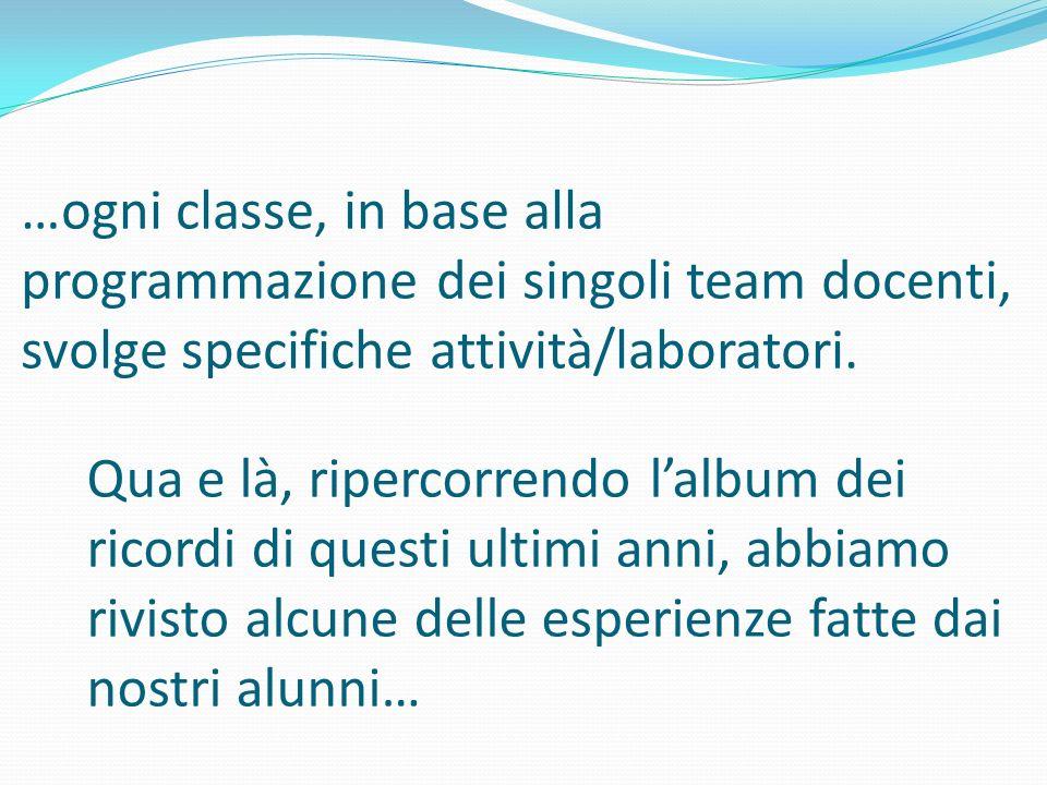 …ogni classe, in base alla programmazione dei singoli team docenti, svolge specifiche attività/laboratori. Qua e là, ripercorrendo lalbum dei ricordi