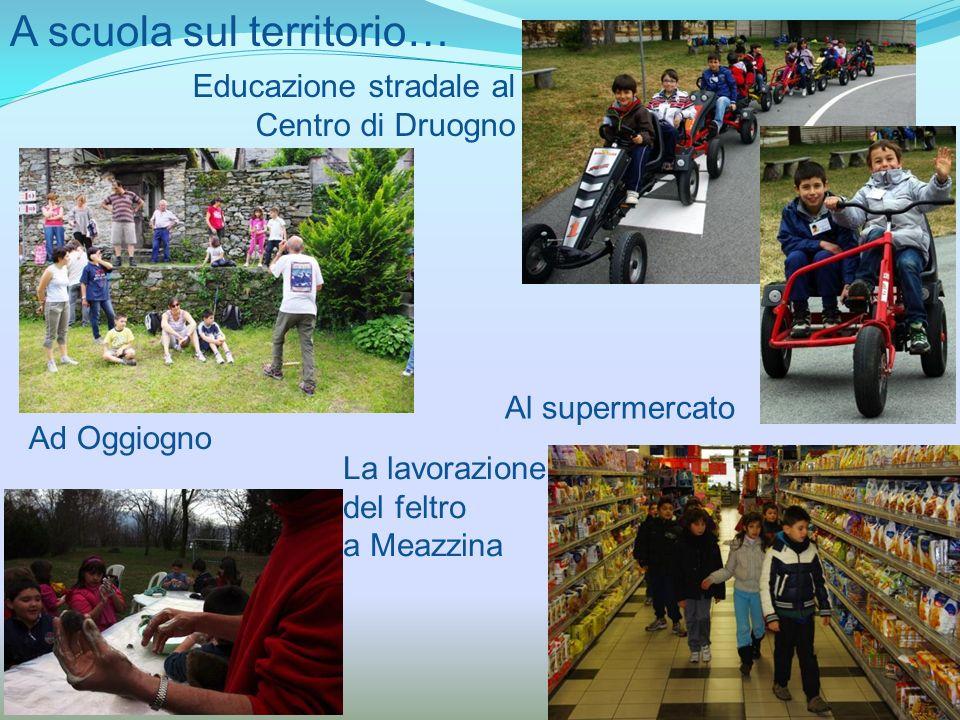 A scuola sul territorio… Educazione stradale al Centro di Druogno Ad Oggiogno La lavorazione del feltro a Meazzina Al supermercato