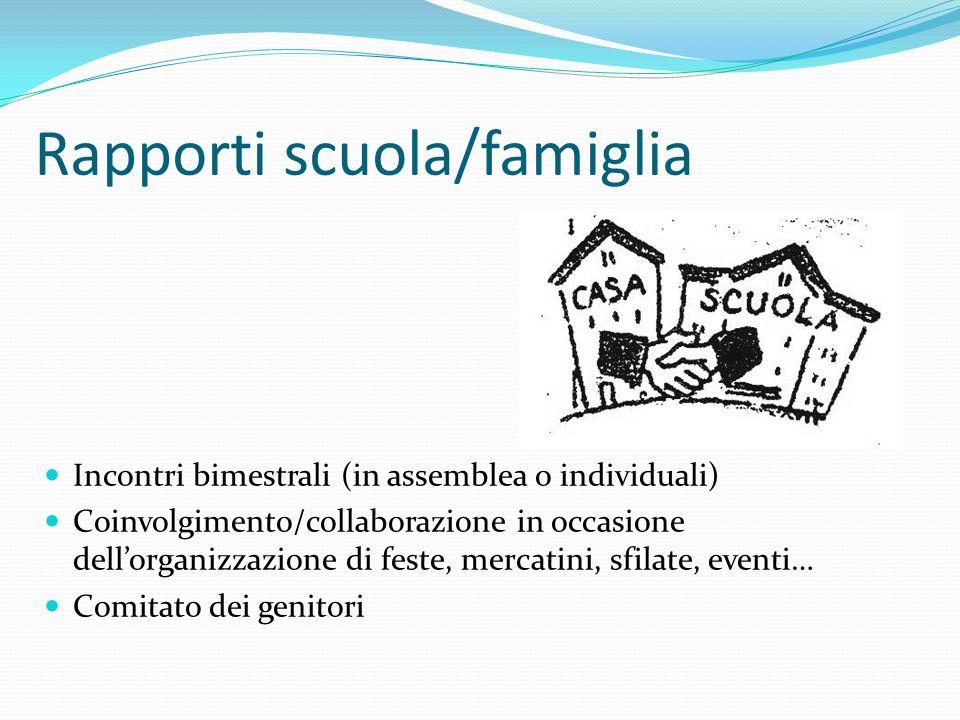 Rapporti scuola/famiglia Incontri bimestrali (in assemblea o individuali) Coinvolgimento/collaborazione in occasione dellorganizzazione di feste, merc