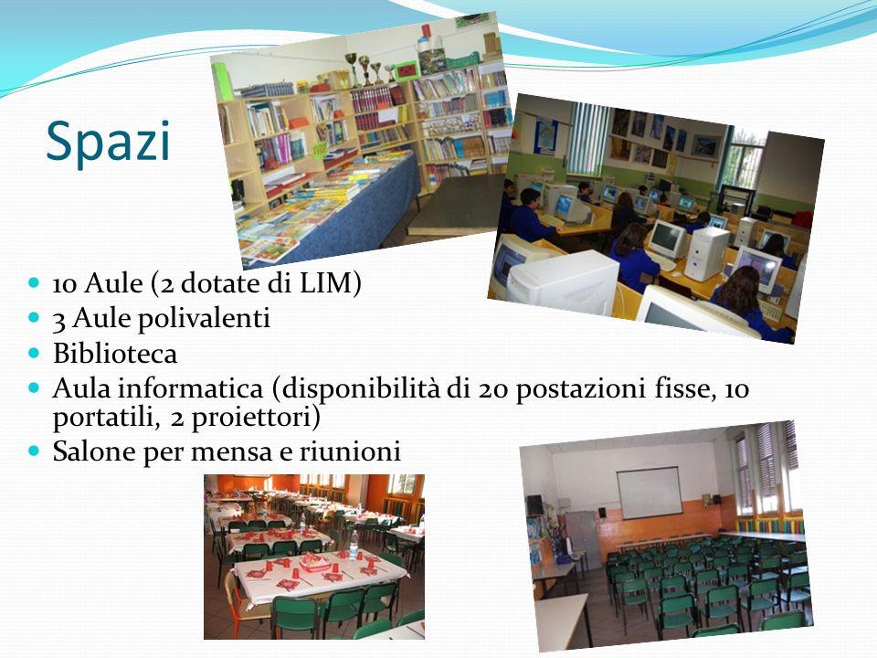 Spazi 10 Aule (2 dotate di LIM) 3 Aule polivalenti Biblioteca Aula informatica (disponibilità di 20 postazioni fisse, 10 portatili, 2 proiettori) Salo