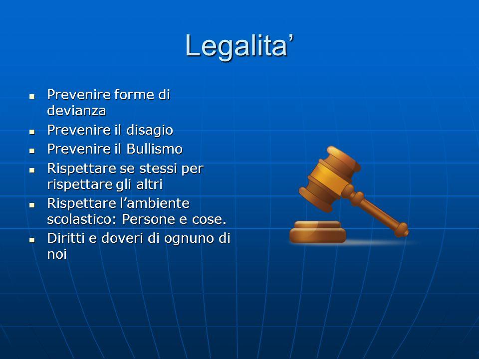 Legalita Prevenire forme di devianza Prevenire forme di devianza Prevenire il disagio Prevenire il disagio Prevenire il Bullismo Prevenire il Bullismo