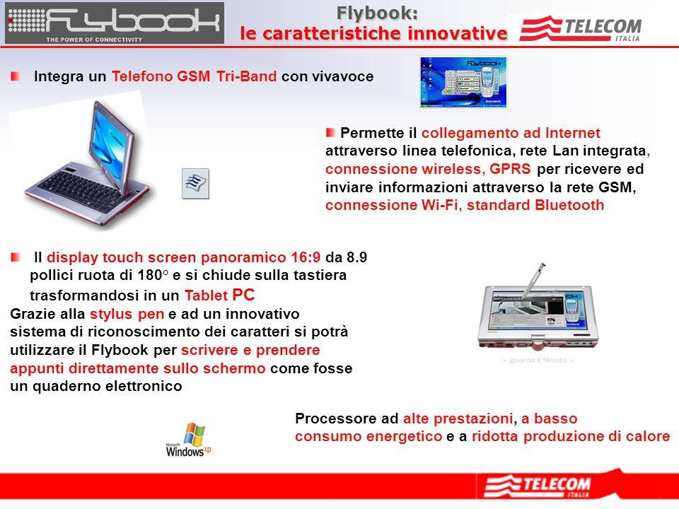 Configurazione di Base: Flybook A33i Processore: 1 GHz (Transmeta Crusoe 5800) RAM: 512 MB (DDR 133MHz) Hard Disk: 40 GB WiFi (standard 802.11b) BlueTooth Gprs/Gsm Ethernet 10/100 Mbps Schermo touch screen girevole a 180° Porte USB 2.0 (x2) Slot Pcmcia (type II) I/O Audio Uscita Video (VGA e analogico) Firewire (standard 1394) Licenza PenTablet Licenza Windows XP Home Licenza Norman Antivirus (gratuito per tre mesi dalla registrazione) Flybook: Prezzo e configurazione