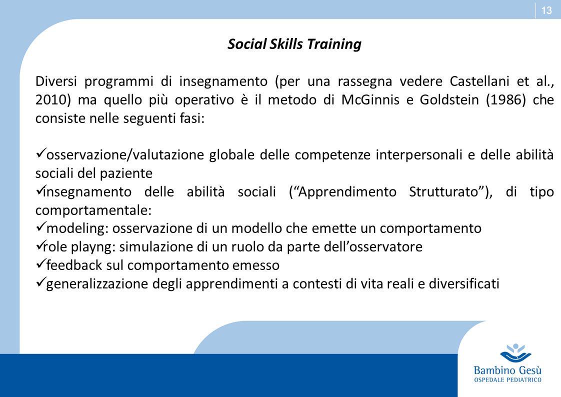 13 Social Skills Training Diversi programmi di insegnamento (per una rassegna vedere Castellani et al., 2010) ma quello più operativo è il metodo di M