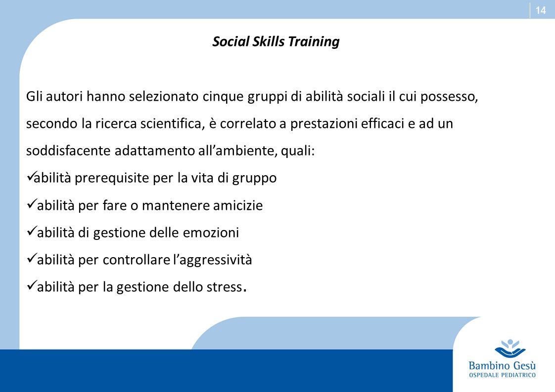 14 Social Skills Training Gli autori hanno selezionato cinque gruppi di abilità sociali il cui possesso, secondo la ricerca scientifica, è correlato a