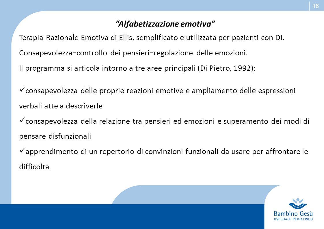16 Alfabetizzazione emotiva Terapia Razionale Emotiva di Ellis, semplificato e utilizzata per pazienti con DI. Consapevolezza=controllo dei pensieri=r
