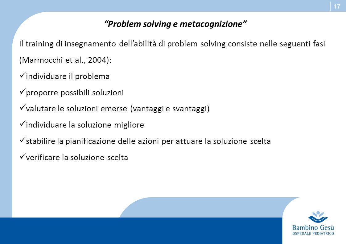17 Problem solving e metacognizione Il training di insegnamento dellabilità di problem solving consiste nelle seguenti fasi (Marmocchi et al., 2004):