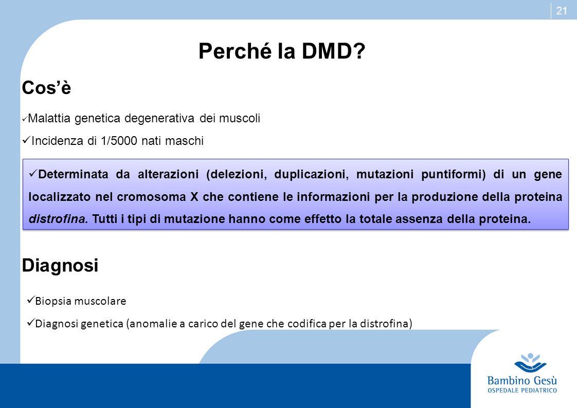 21 Perché la DMD? Malattia genetica degenerativa dei muscoli Incidenza di 1/5000 nati maschi Cosè Diagnosi Biopsia muscolare Diagnosi genetica (anomal
