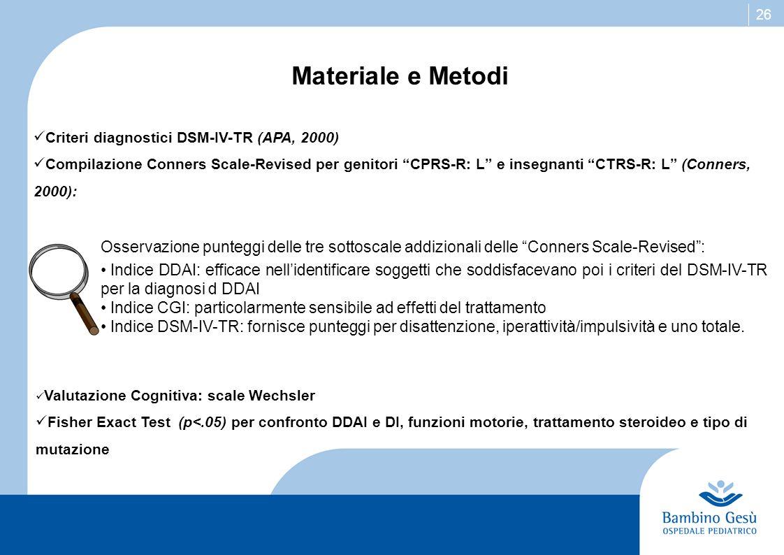 26 Materiale e Metodi Criteri diagnostici DSM-IV-TR (APA, 2000) Compilazione Conners Scale-Revised per genitori CPRS-R: L e insegnanti CTRS-R: L (Conn