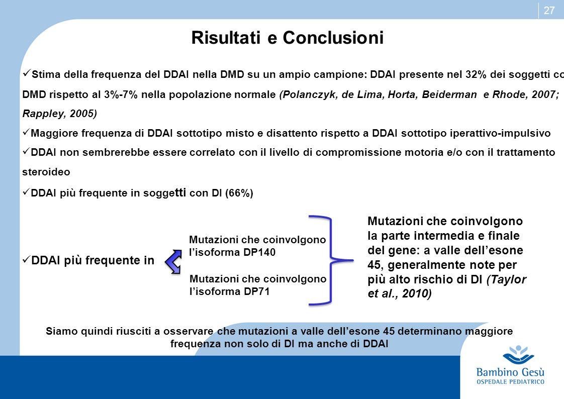 27 Risultati e Conclusioni Stima della frequenza del DDAI nella DMD su un ampio campione: DDAI presente nel 32% dei soggetti con DMD rispetto al 3%-7%