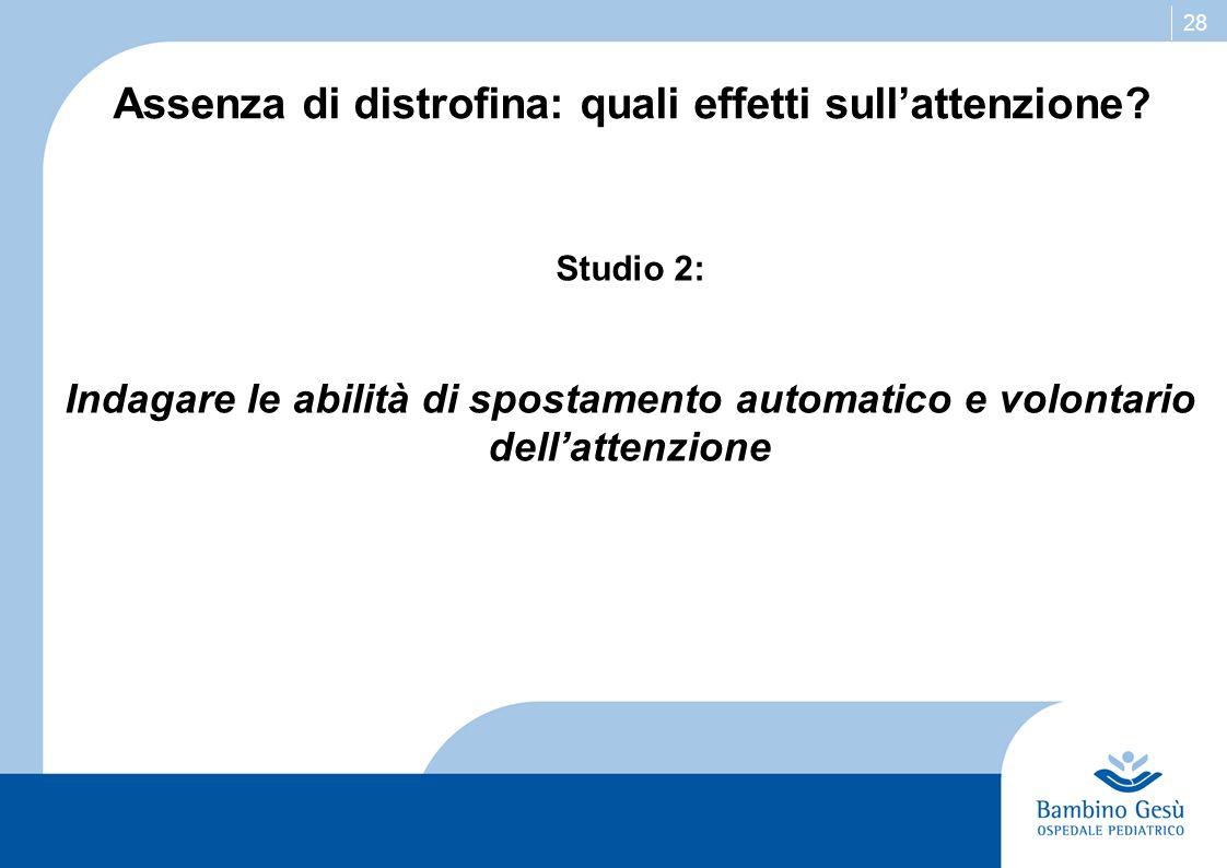 28 Assenza di distrofina: quali effetti sullattenzione? Studio 2: Indagare le abilità di spostamento automatico e volontario dellattenzione