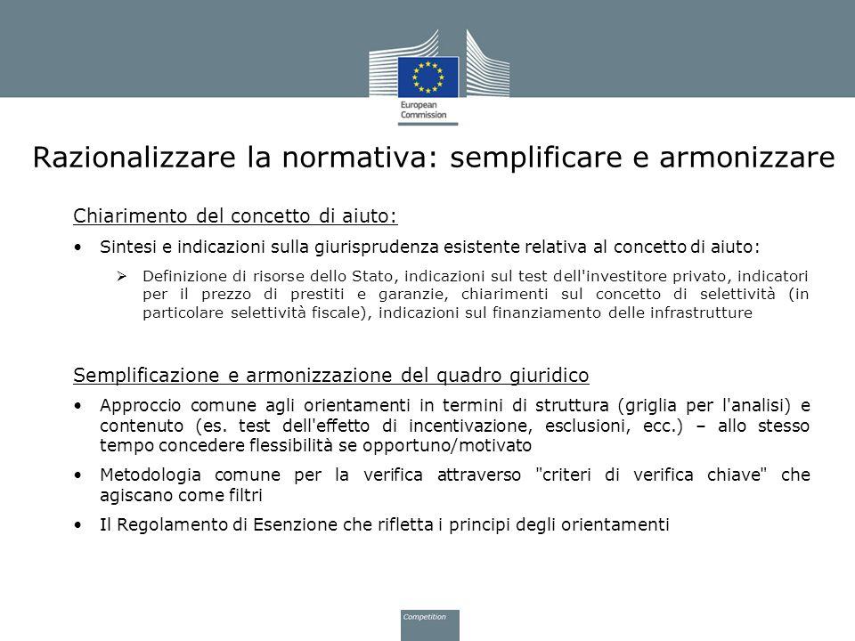 Razionalizzare la normativa: semplificare e armonizzare Chiarimento del concetto di aiuto: Sintesi e indicazioni sulla giurisprudenza esistente relati