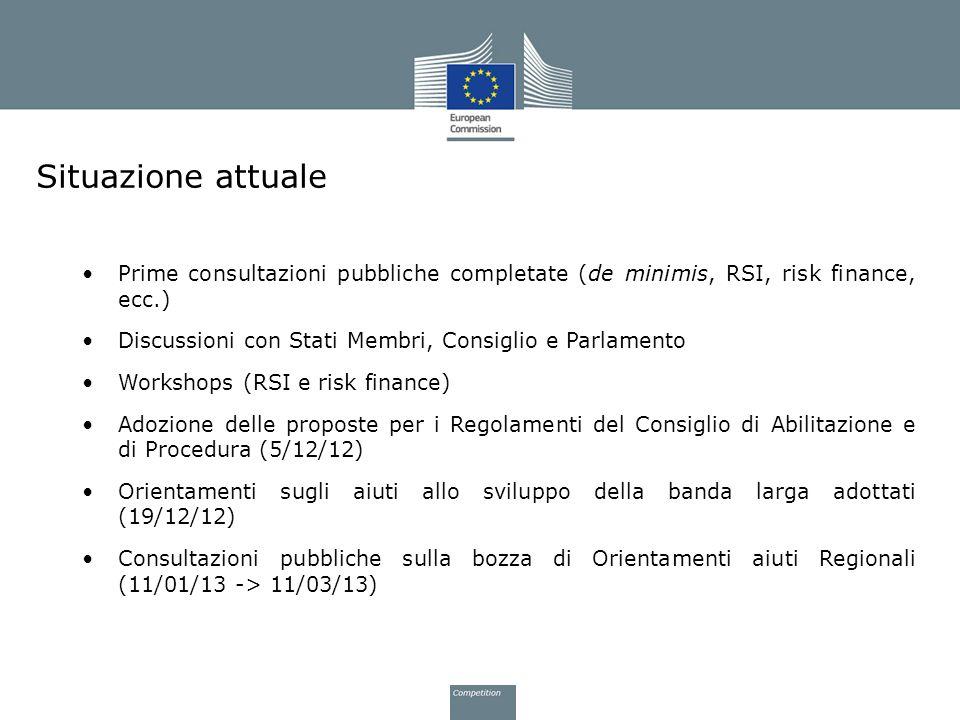 Situazione attuale Prime consultazioni pubbliche completate (de minimis, RSI, risk finance, ecc.) Discussioni con Stati Membri, Consiglio e Parlamento