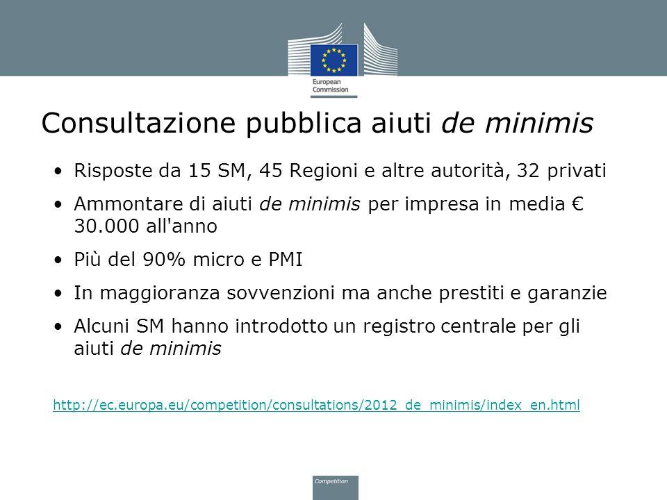 Consultazione pubblica aiuti de minimis Risposte da 15 SM, 45 Regioni e altre autorità, 32 privati Ammontare di aiuti de minimis per impresa in media