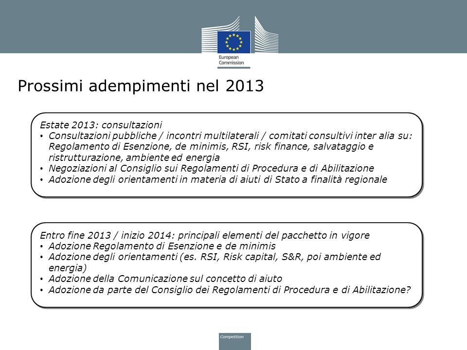Prossimi adempimenti nel 2013 Estate 2013: consultazioni Consultazioni pubbliche / incontri multilaterali / comitati consultivi inter alia su: Regolam