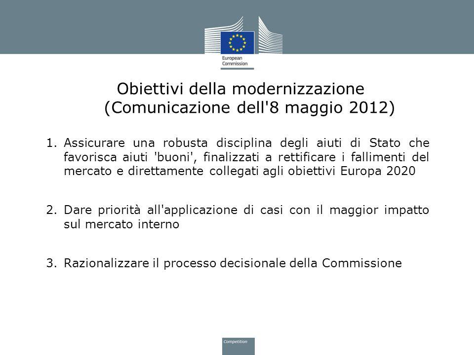 Obiettivi della modernizzazione (Comunicazione dell'8 maggio 2012) 1.Assicurare una robusta disciplina degli aiuti di Stato che favorisca aiuti 'buoni
