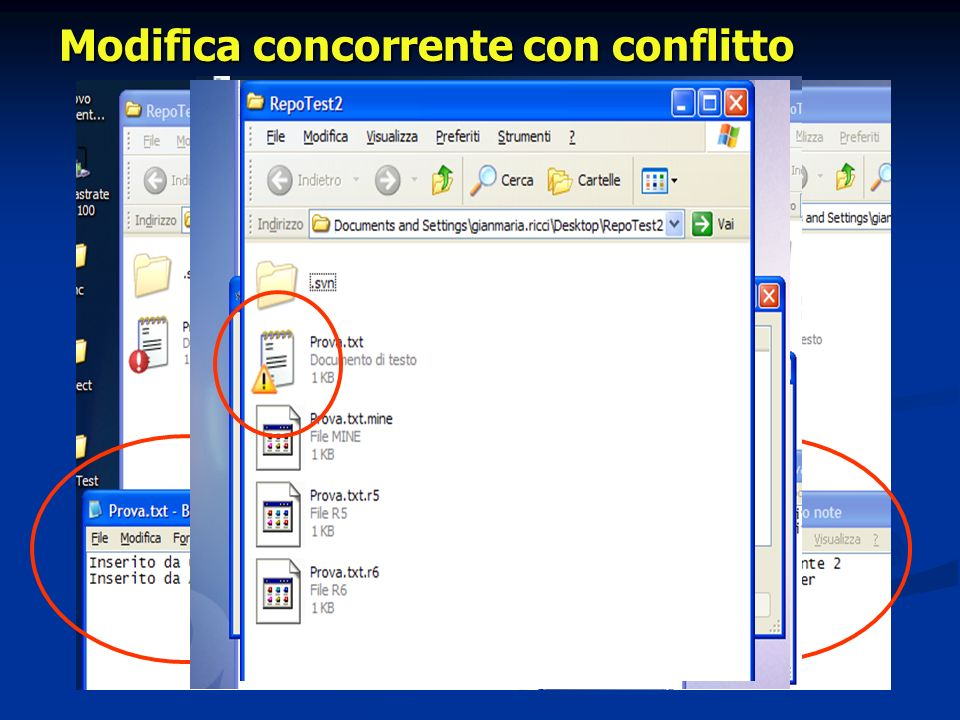 Modifica concorrente con conflitto
