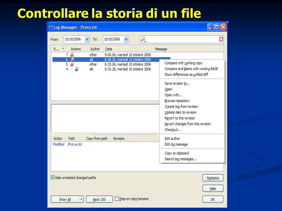Controllare la storia di un file