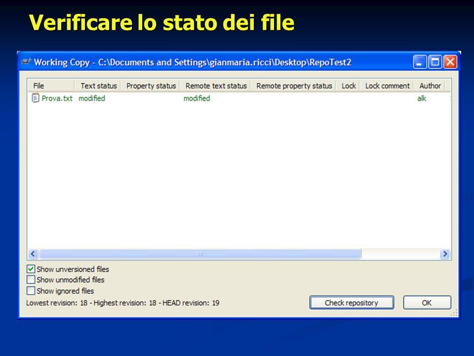 Verificare lo stato dei file