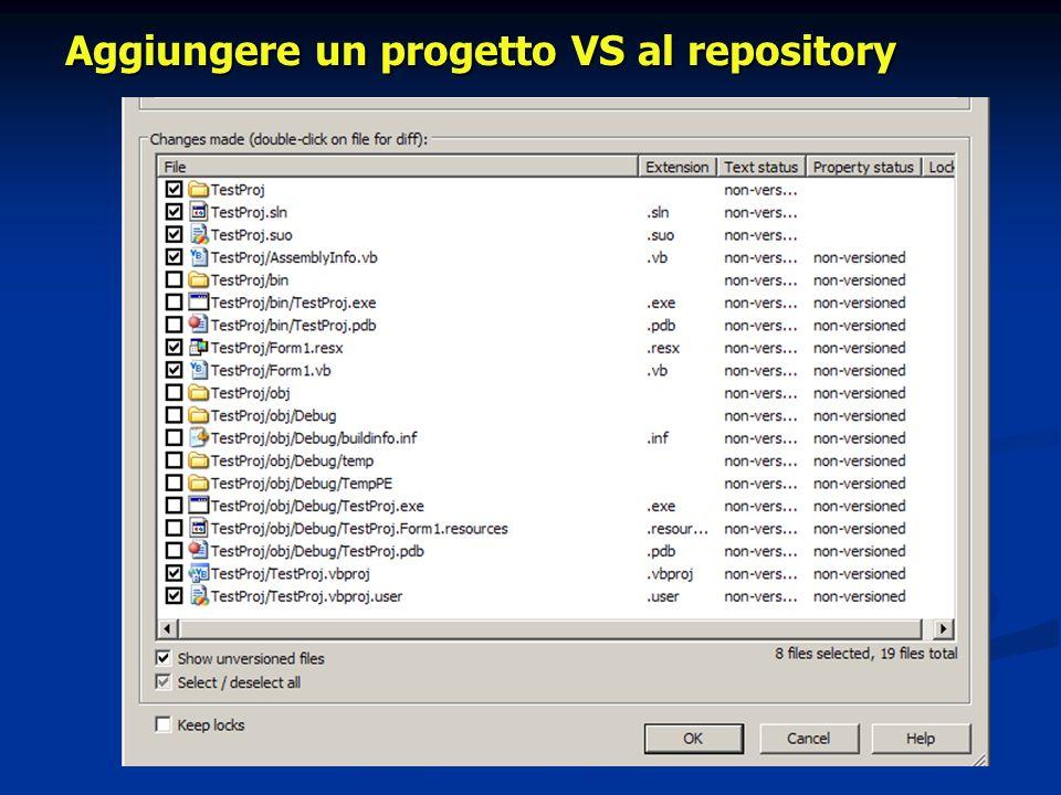 Aggiungere un progetto VS al repository