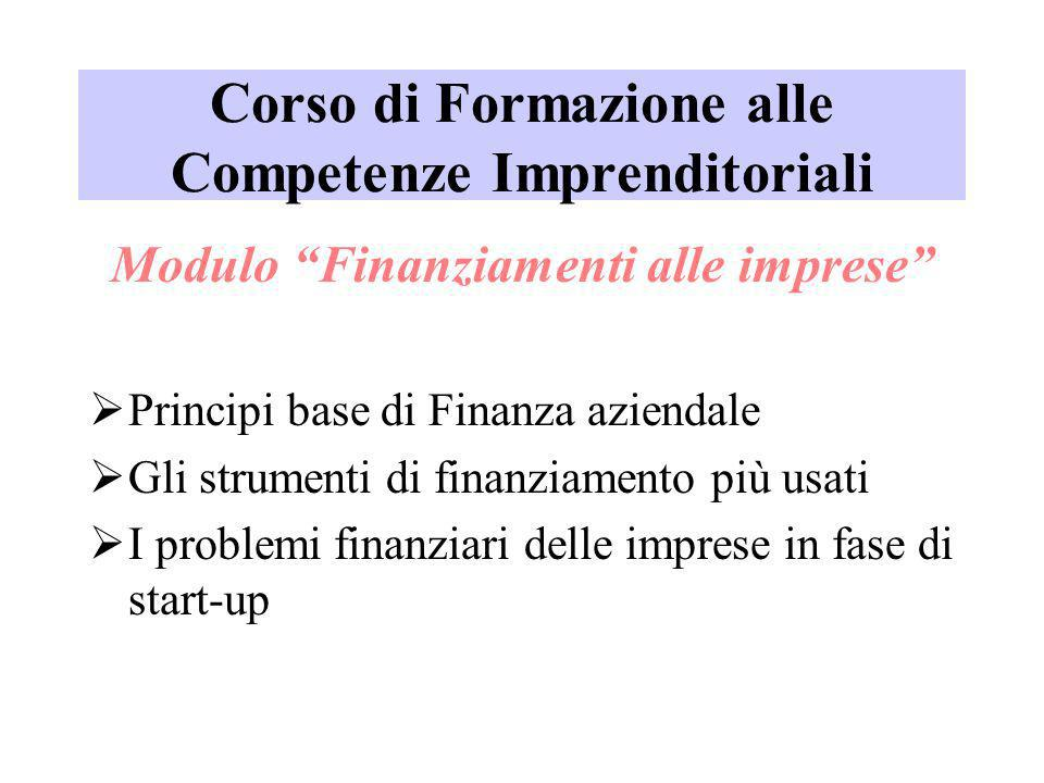 Corso di Formazione alle Competenze Imprenditoriali Modulo Finanziamenti alle imprese Principi base di Finanza aziendale Gli strumenti di finanziament