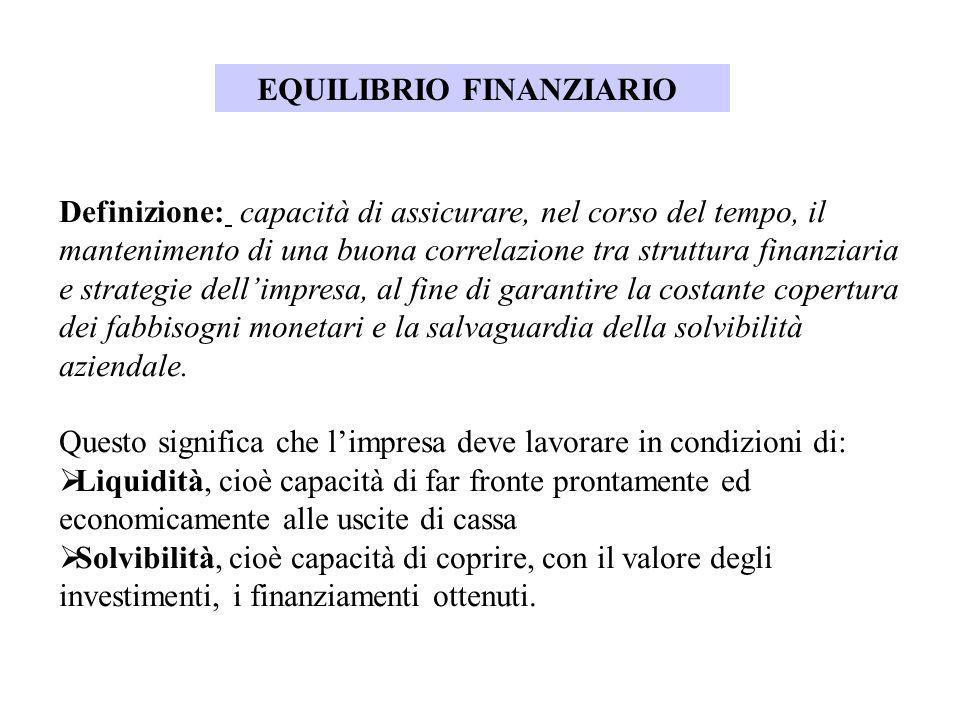 EQUILIBRIO FINANZIARIO Definizione: capacità di assicurare, nel corso del tempo, il mantenimento di una buona correlazione tra struttura finanziaria e