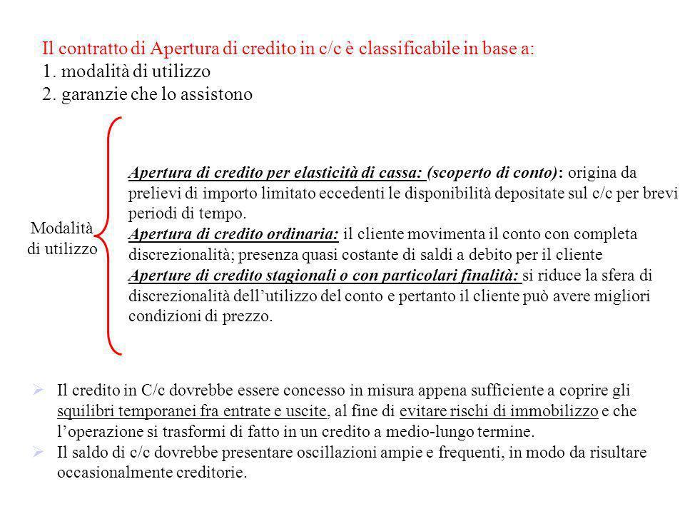 Il contratto di Apertura di credito in c/c è classificabile in base a: 1. modalità di utilizzo 2. garanzie che lo assistono Apertura di credito per el