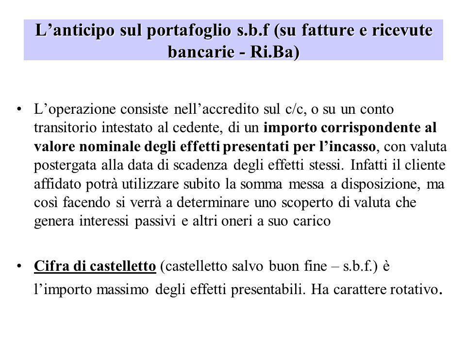 Lanticipo sul portafoglio s.b.f (su fatture e ricevute bancarie - Ri.Ba) Loperazione consiste nellaccredito sul c/c, o su un conto transitorio intesta
