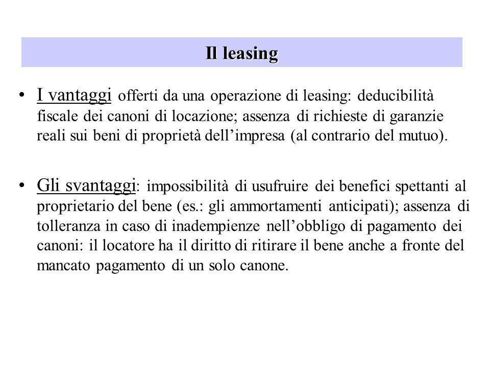Il leasing I vantaggi offerti da una operazione di leasing: deducibilità fiscale dei canoni di locazione; assenza di richieste di garanzie reali sui b