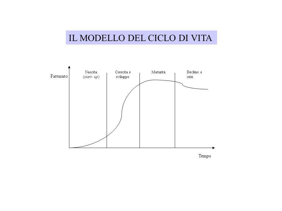 Fatturato Nascita (start- up) Crescita e sviluppo MaturitàDeclino e crisi Tempo IL MODELLO DEL CICLO DI VITA